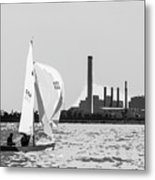 Sailing In Black And White Metal Print