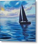 Sailing In Cerulean Blue Metal Print