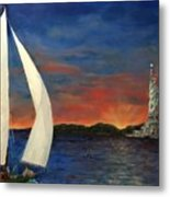 Sailing Liberty Metal Print