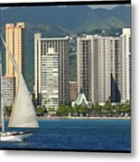 Sailing Off Waikiki Metal Print