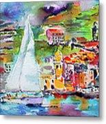 Sailing Past Vernazza Italy Metal Print