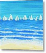 Sailing Regatta White Metal Print