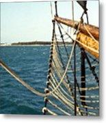 Sailing Ship Prow On The Caribbean Metal Print