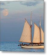 Sailing Ship With Moon Metal Print