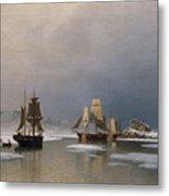 Sailing Ships On Frozen Fjord Metal Print