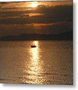 Sailing The Great Salt Lake At Sunset Metal Print