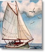 Sailing Through Open Waters Metal Print