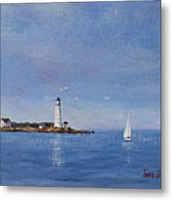 Sailing To Boston Light Metal Print