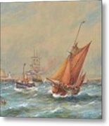 Sailing Vessels Off A Harbour Entrance Metal Print