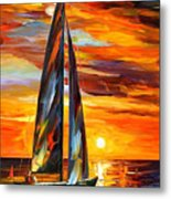 Sailing With The Sun - Palette Knife Oil Painting On Canvas By Leonid Afremov Metal Print