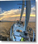 Sailing Yacht And Tropical Storm Ana Outflow  Metal Print