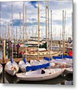 Sailoats Docked In Marina Metal Print by David Buffington