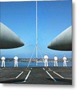 Sailors Aboard The Aircraft Carrier Uss Nimitz  Metal Print