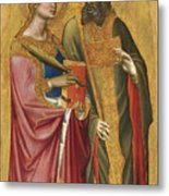 Saint Catherine And A Bishop Saint Possibly Saint Regulus Metal Print