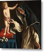 Saint Catherine Of Siena Receiving The Crown Of Thorns From The Christ Child Metal Print
