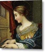 Saint Cecilia Playing The Organ Metal Print