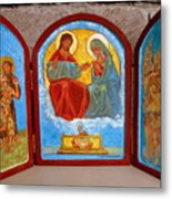 Saint Francis Tryptich Opened Metal Print