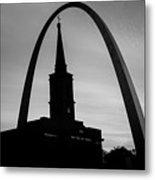 Saint Louis Skyline Silhouettes - Black And White - Usa Metal Print