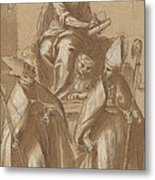 Saint Mark With Two Bishops And Putti Metal Print