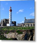 Saint-mathieu Lighthouse And The Ruins Of The Abbey Of Saintlmat Metal Print