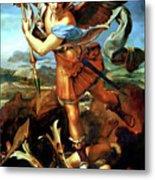 Saint Michael Overthrowing The Demon  Metal Print by Raphael