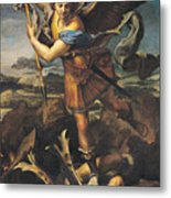 Saint Michael Overwhelming The Demon Metal Print