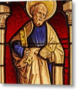 Saint Peter  Stained Glass Metal Print