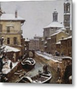 Saint Sophia Canal Covered In Snow Metal Print