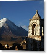 Sajama Volcano And Lagunas Church Belfry Bolivia Metal Print