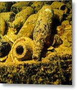 Sake Bottles In A Shipwreck In Truk Metal Print