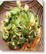 Orange Green Salad For Lunch With Pineapple Dressing Metal Print