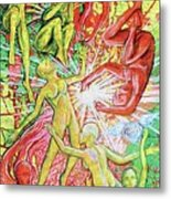 Salamander And Butterfly Metal Print