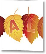 Sale Text On Fall Colors Birch Leaves Metal Print