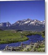 Salmon River And Sawtooth Mountains Metal Print