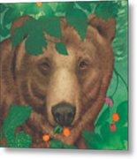 Salmonberry Bear Metal Print