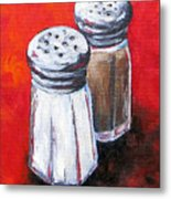 Salt And Pepper On Red Metal Print