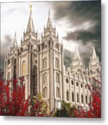 Salt Lake Temple - A Light in the Storm Metal Print