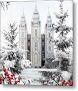 Salt Lake Temple - Winter Wonderland Metal Print
