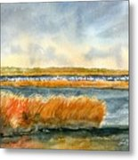 Salt Marsh And Snow Geese Metal Print