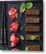 Salted Salmon With Beetroot  Metal Print