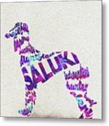 Saluki Dog Watercolor Painting / Typographic Art Metal Print