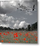 Salute To The Brave - P51 Flying Over Poppy Field Metal Print