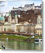 Salzburg City And Fortress  Metal Print