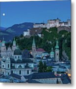 Salzburg City With Hohensalzburg Fortress, Salzburger Land, Austria Metal Print