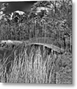 Sam Houston Jones State Park Bridge Bw Metal Print