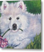 Samoyed Pup With Peony Metal Print