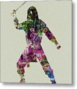 Samurai With A Sword Metal Print by Naxart Studio