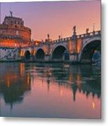 San Angelo Bridge And Castel Sant Angelo Metal Print