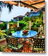 San Clemente Estate Patio 2 Metal Print by Kathy Tarochione