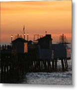San Clemente Pier Sunset Metal Print by Brad Scott